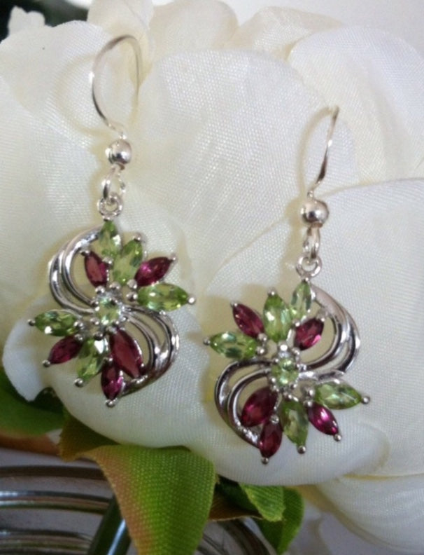 Gemstone Earrings | Silver Peridot & Rhodolite Drop Earrings