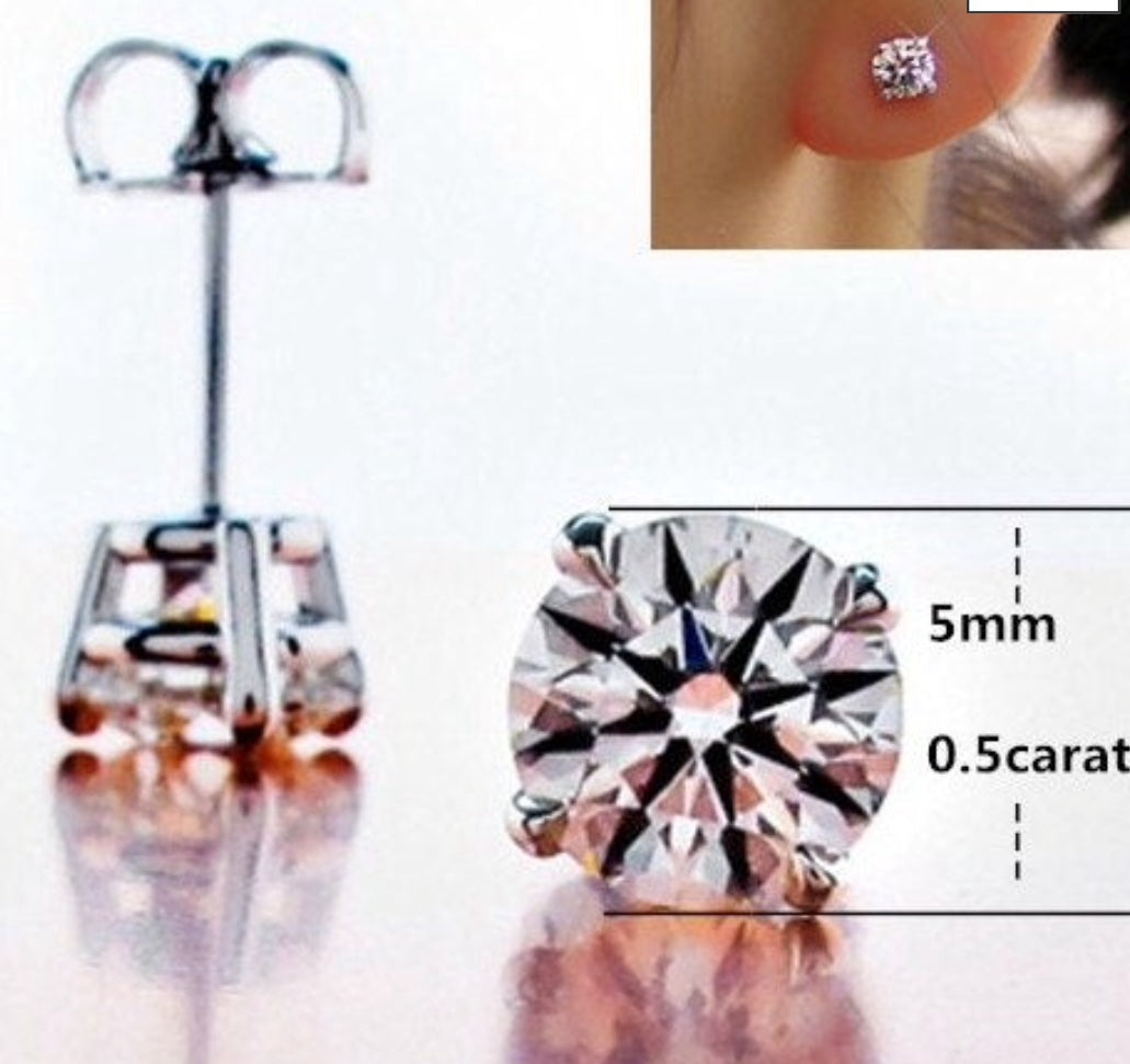Sterling Silver 1 Carat Each Diamond Simulated Stud Earrings