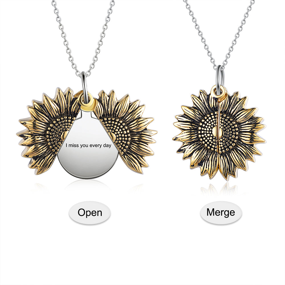 Silver Sunflower Locket Pendant Necklace