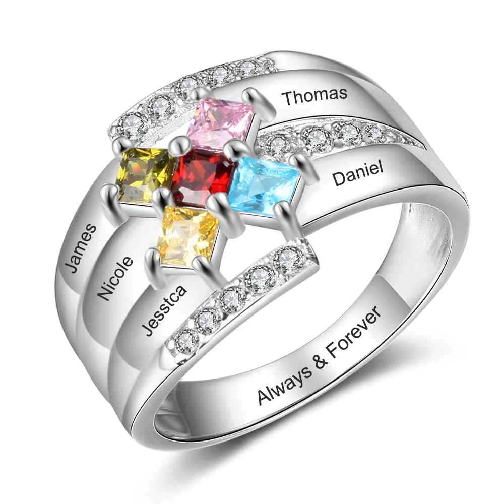 Sterling Silver Personalised Five Birthstone Name Ring
