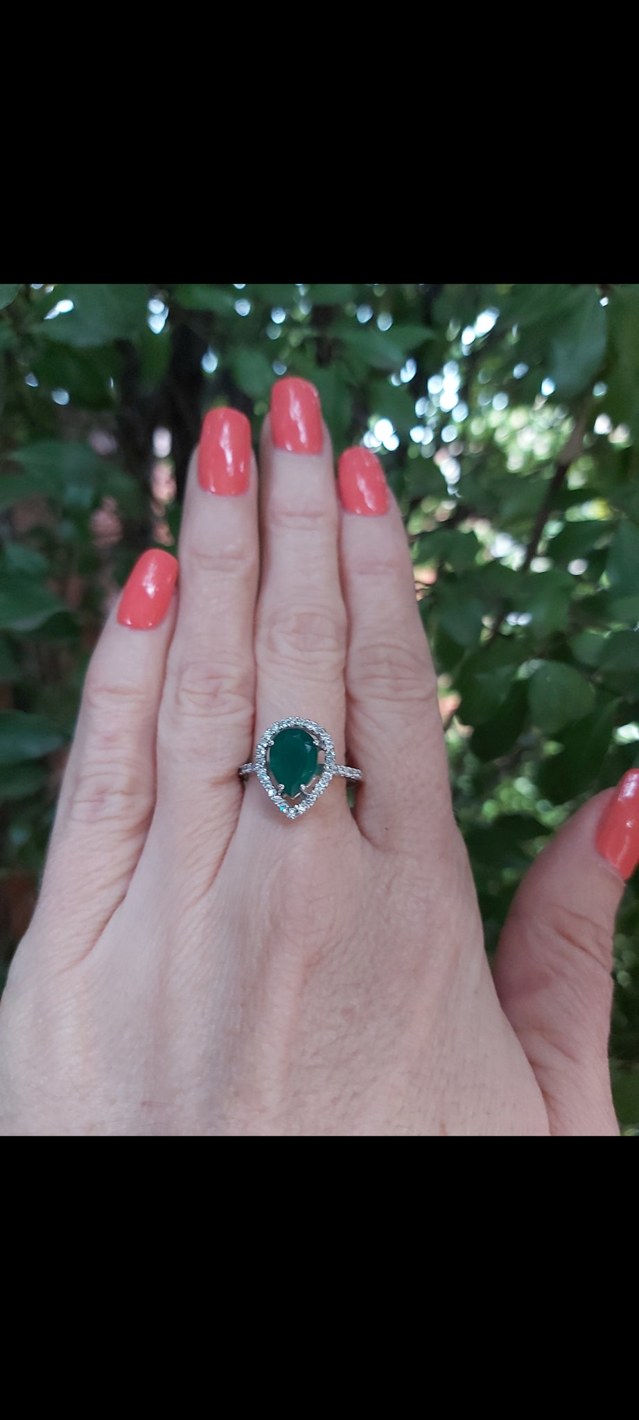 Silver Green Agate Promise Ring