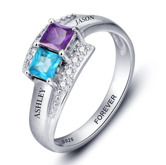 Name Engraved Personalised Two Birthstone Ring For Women
