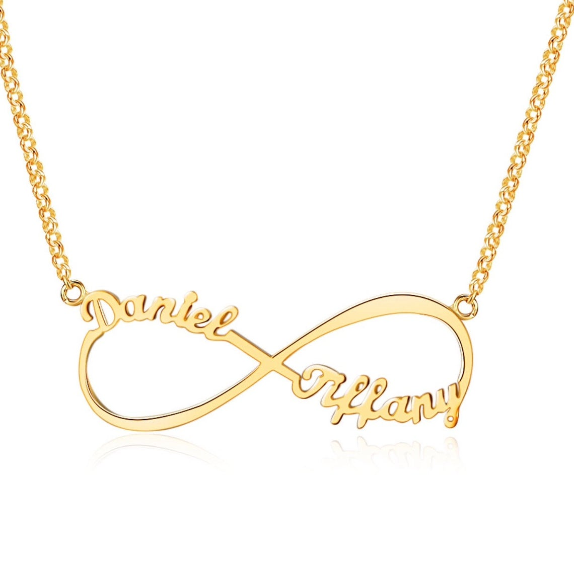 Gold Infinity Name Engraved Personalised Necklace