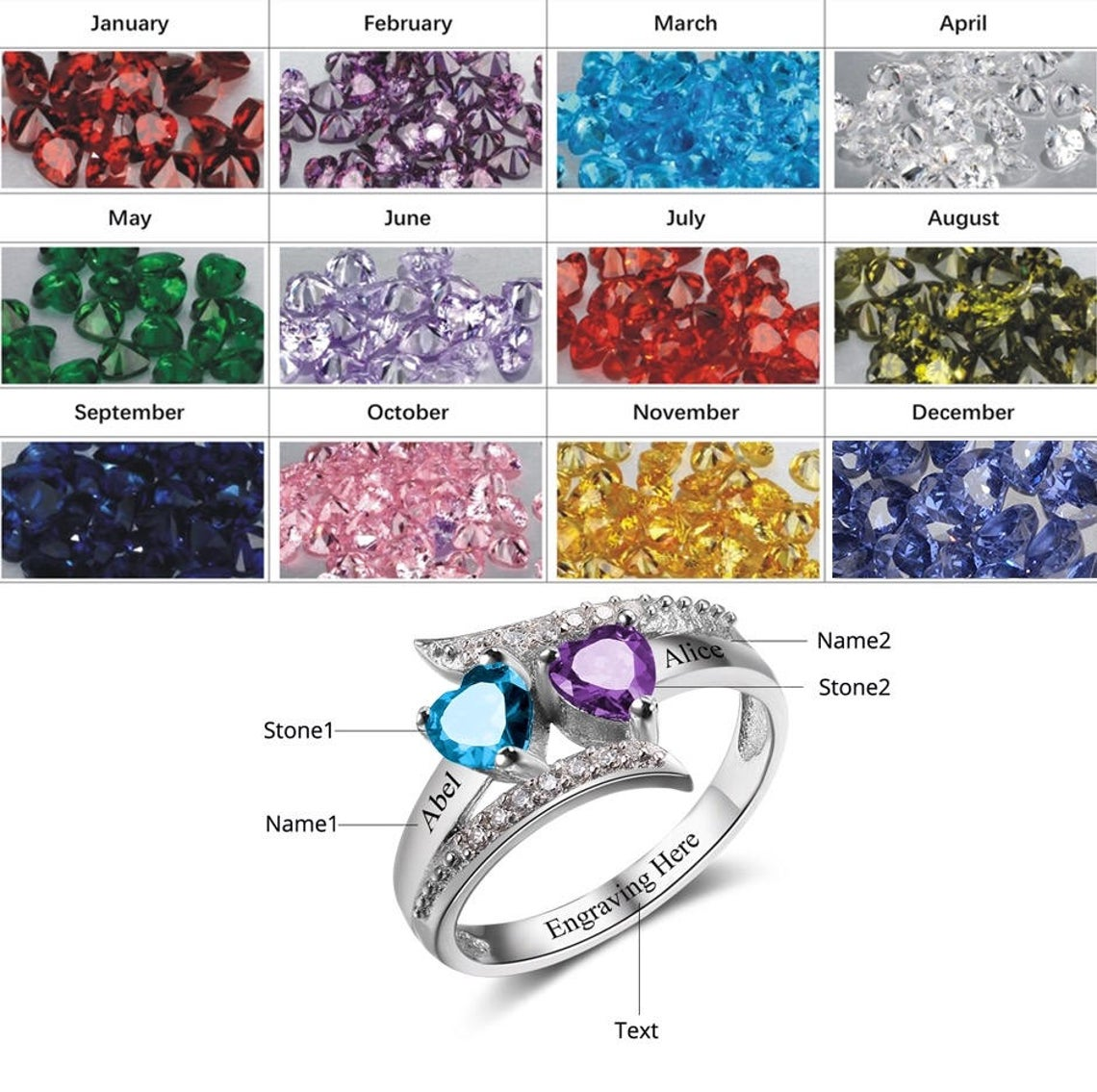 Silver Personalised Four Name Family Cubic Zirconia Birthstone Ring