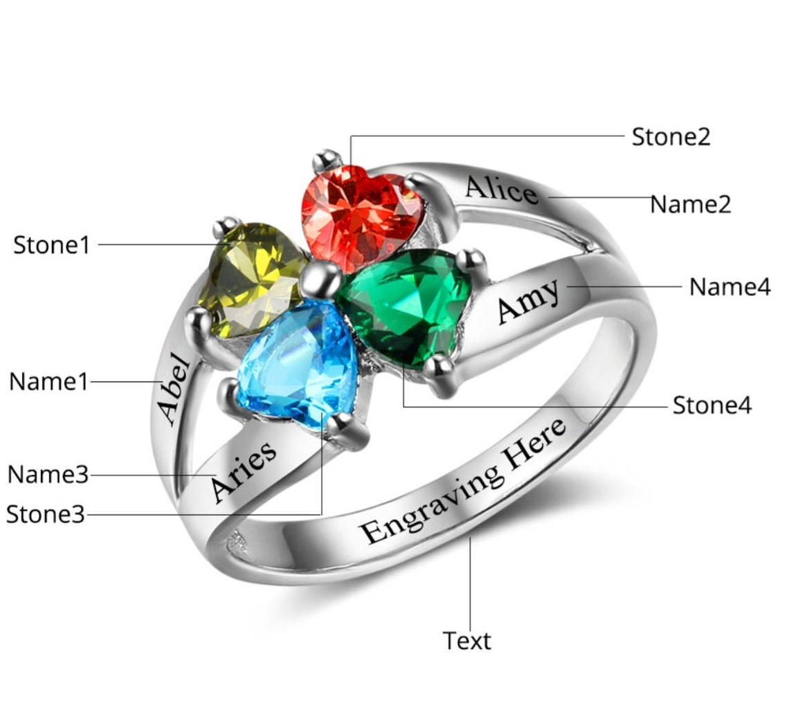 Sterling Silver Engraved Personalised Four Birthstone Ring
