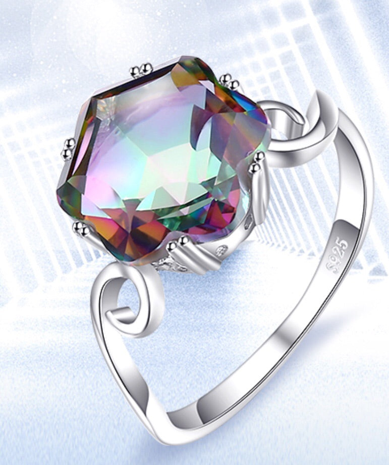 4ct Genuine Rainbow Mystic Topaz Ring 925 Sterling Silver Rings for Women Engagement Ring Silver 925 Gemstones Jewellery