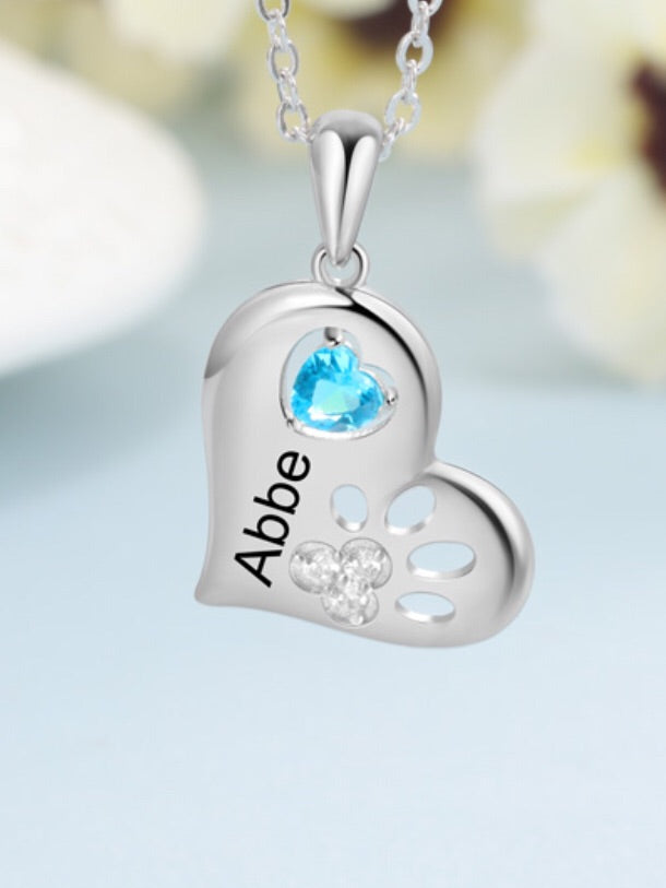 personalized sterling silver name birthstone pendant in a heart shape necklace