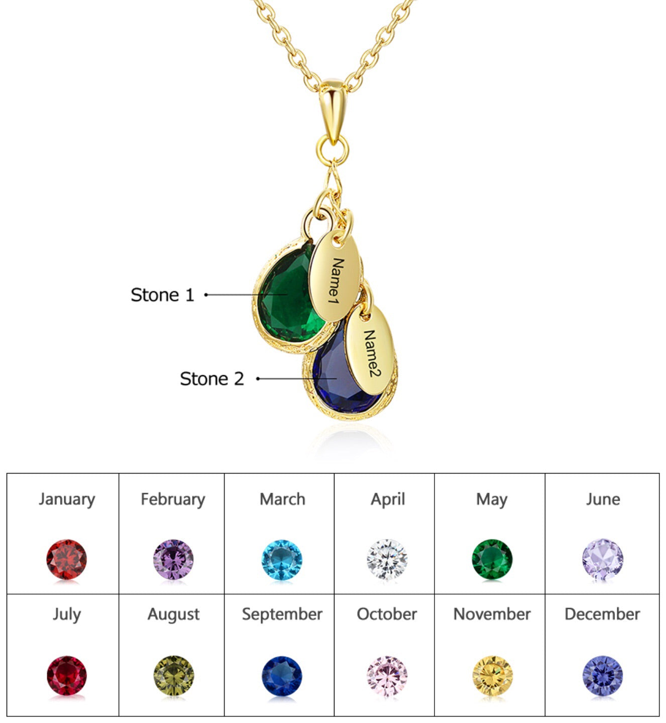 Birthstone Family Personalised Name Engraved Necklace