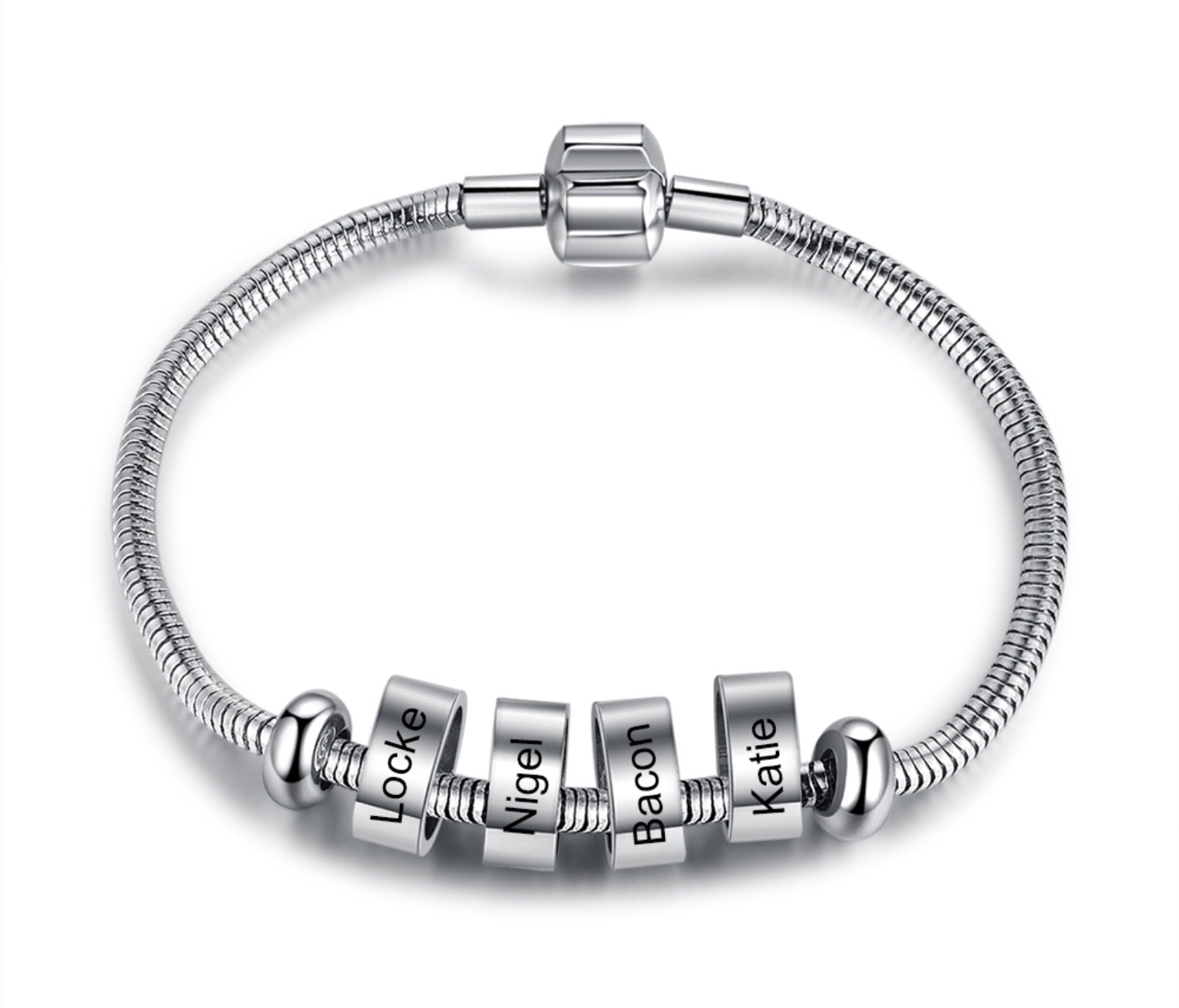 Silver Family Name Personalised Engraved Stainless Steel Bracelet