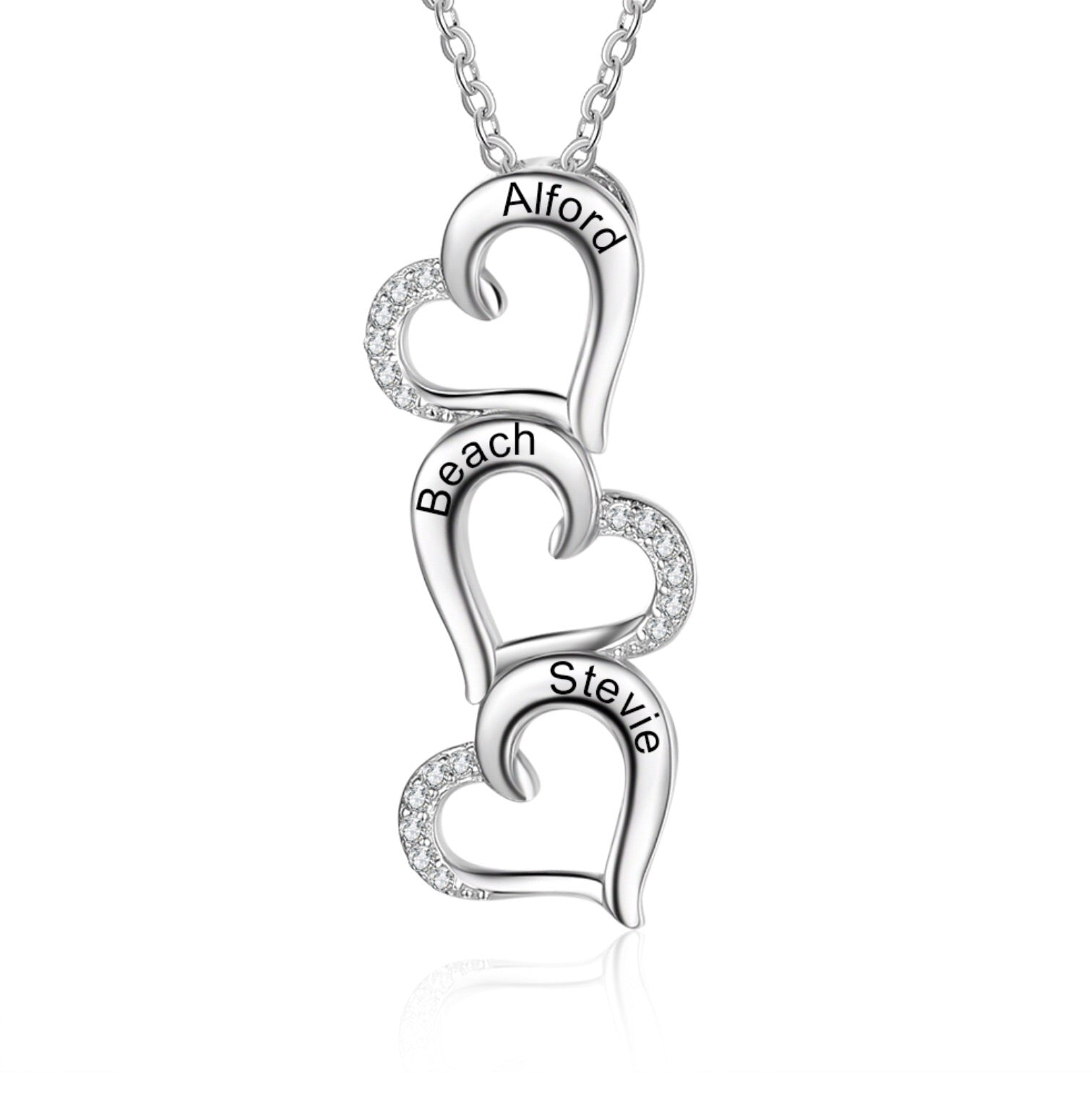 Sterling Silver Heart Personalised Name Necklace