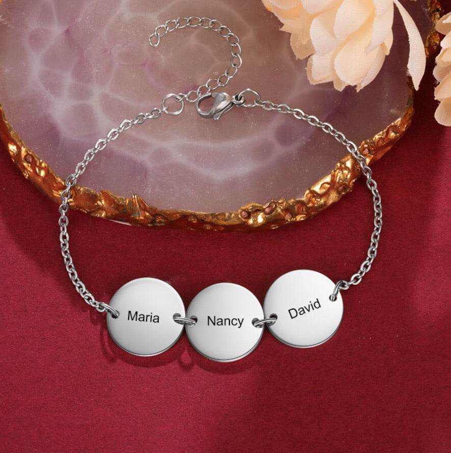 Gold Family Name Engraved Personalised Disc Bracelet
