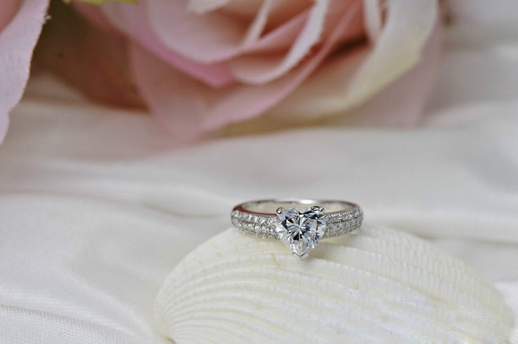 Silver 2 Carat Heart Simulated Diamond Engagement Ring