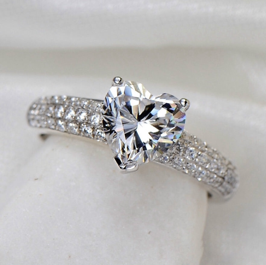Sterling silver promise ring engagement heart ring online jewellery store Australia