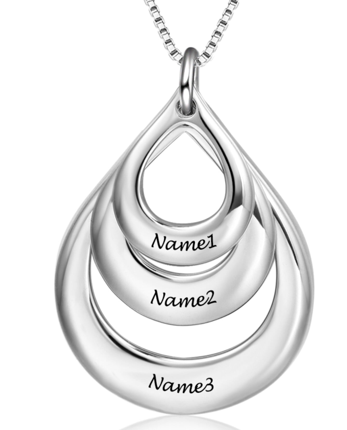 Sterling Silver Custom Engraved Personalised Three Name Necklace