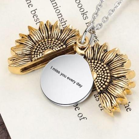 Necklace Sunflower Engraved Necklace Locket stainless Steel