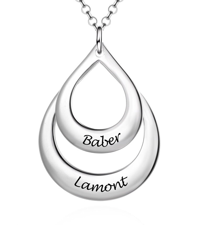 Sterling Silver Engraved Personalised Two Name Necklace