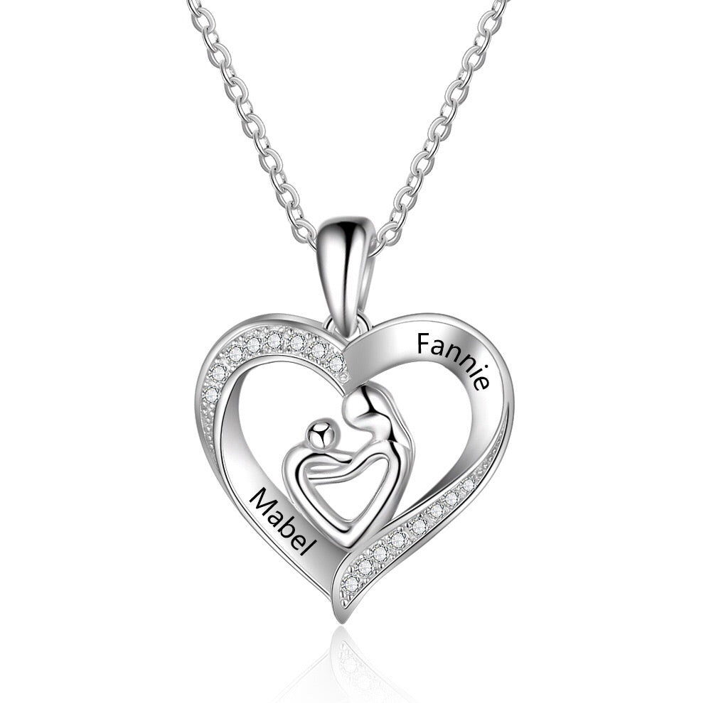 Silver Mother & Child personalised name engraved heart pendant necklace online in Australia