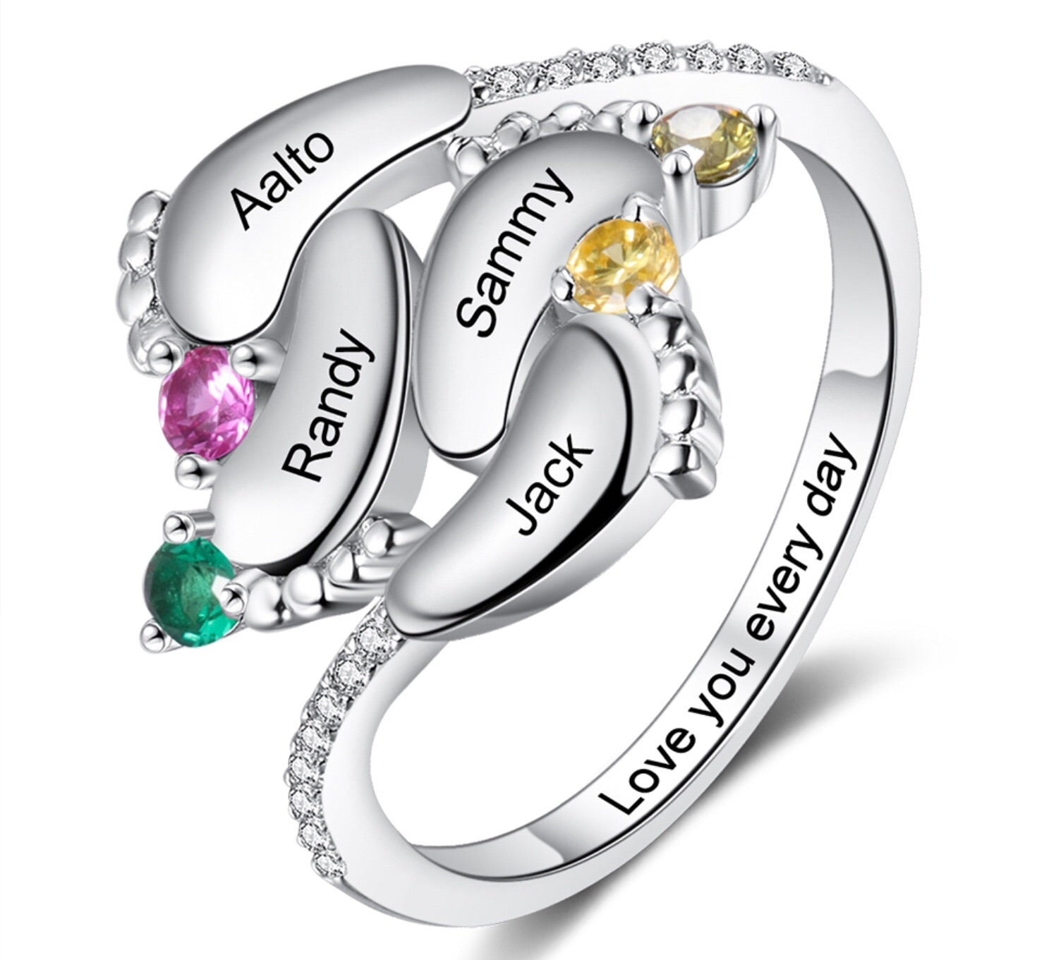Sterling Silver Birthstone Personalised Four Name Engraved Ring