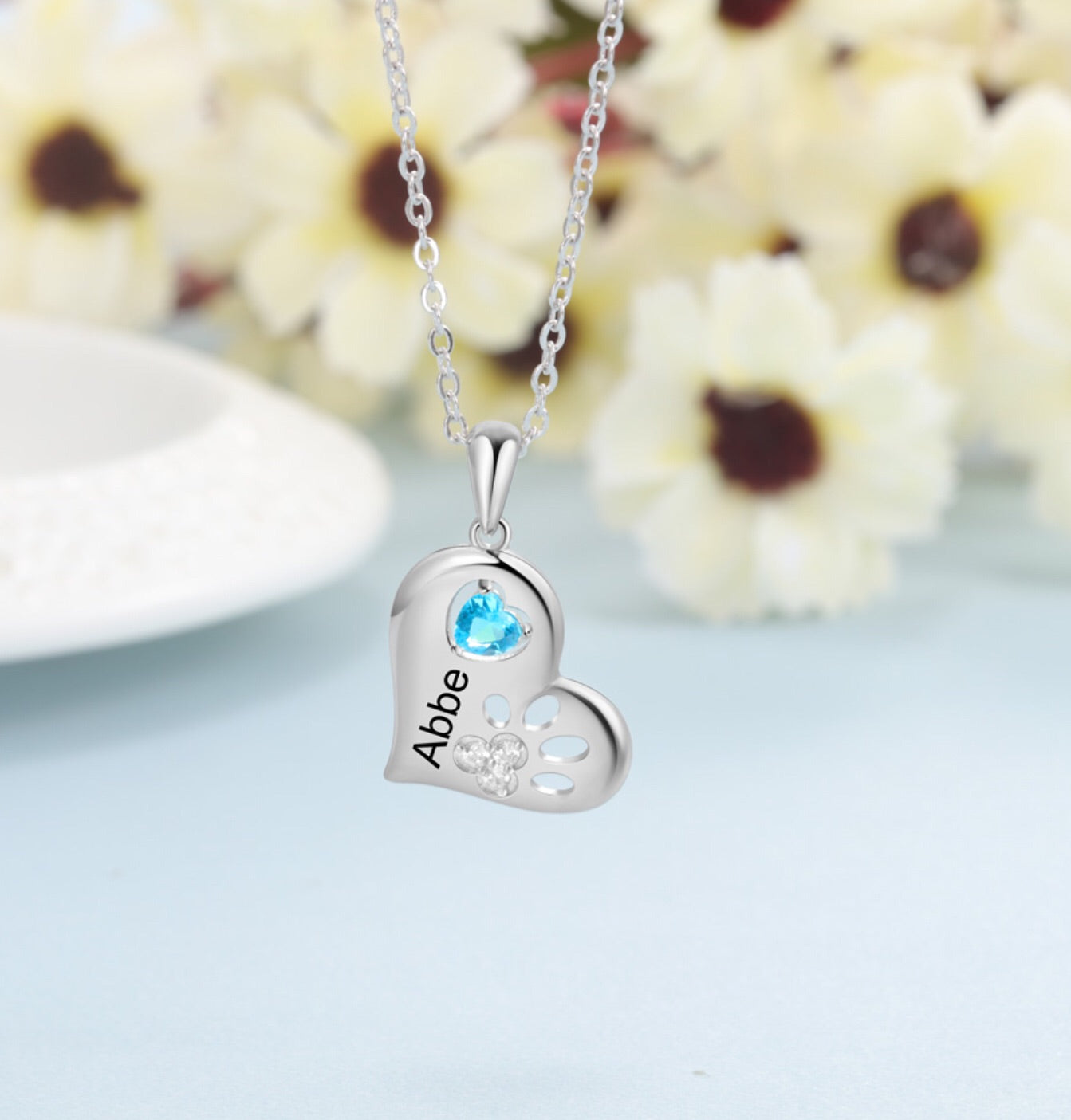 Silver Birthstone Personalised One Name Engrave Heart Pendant