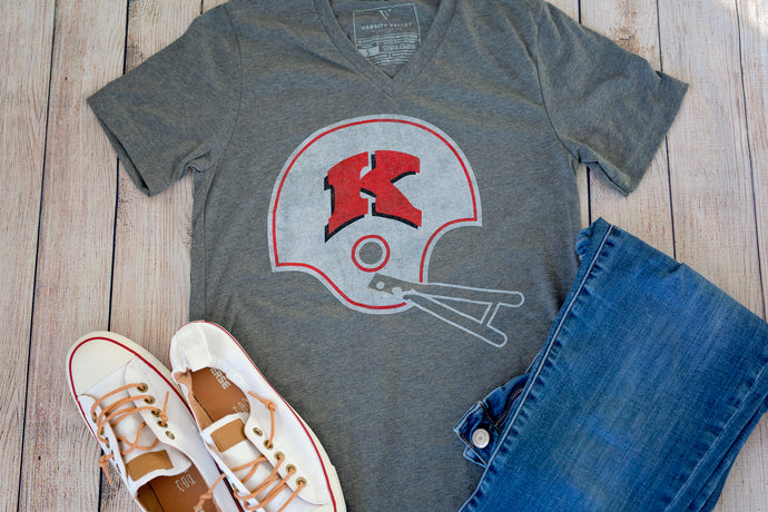 Kimberly Football Helmet V-Neck T-Shirt