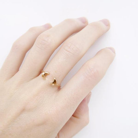 Double Moon Ring rose gold plated - Correy & Lyon jewellery