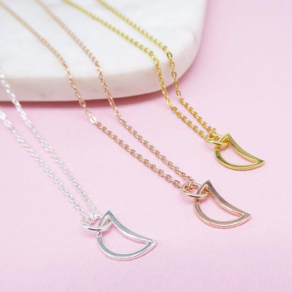 Crescent Moon Necklace (Rose Gold) - Correy & Lyon Silver Jewellery