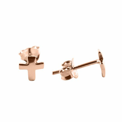 Cross Stud earrings 14k rose gold - Correy & Lyon jewellery