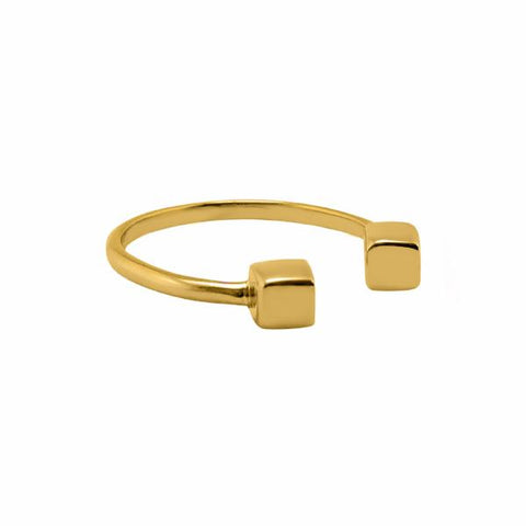 Cube Ring 14k gold plated - Correy & Lyon jewellery