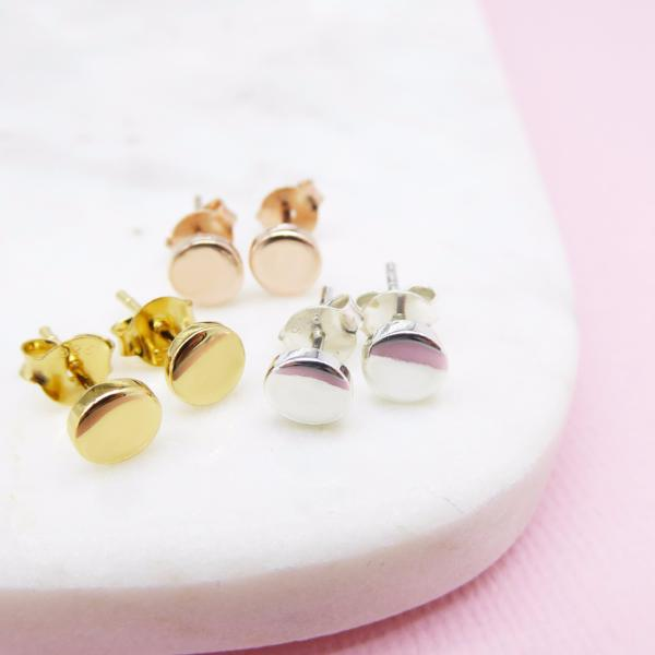 Disc Studs (Gold) - Correy & Lyon Silver Jewellery