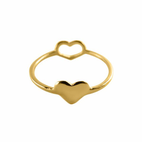Double Heart Ring 14k gold plated - Correy & Lyon jewellery