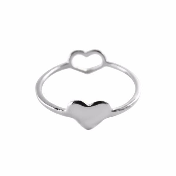 Double Heart Ring silver - Correy & Lyon jewellery