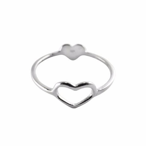 Double Heart Ring sterling silver - Correy & Lyon jewellery