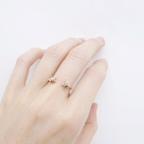 Double Star Ring rose gold plated - Correy & Lyon jewellery