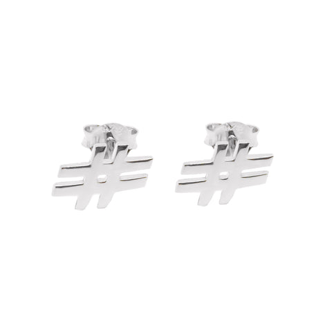 Hashtag Stud Earrings (Silver) - Correy & Lyon Silver Jewellery