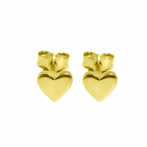 Heart Studs (Gold) - Correy & Lyon Silver Jewellery