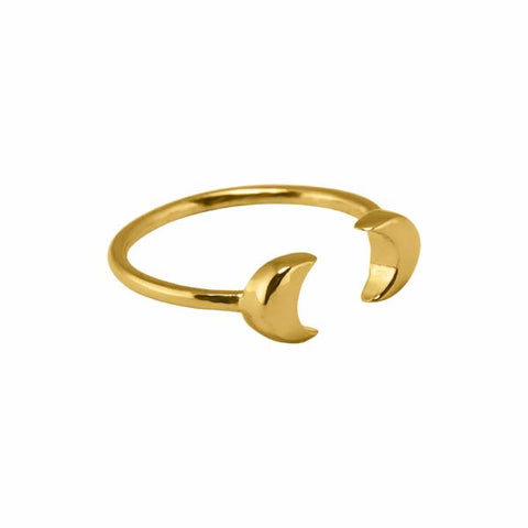 Double Moon Ring 14k gold plated - Correy & Lyon jewellery