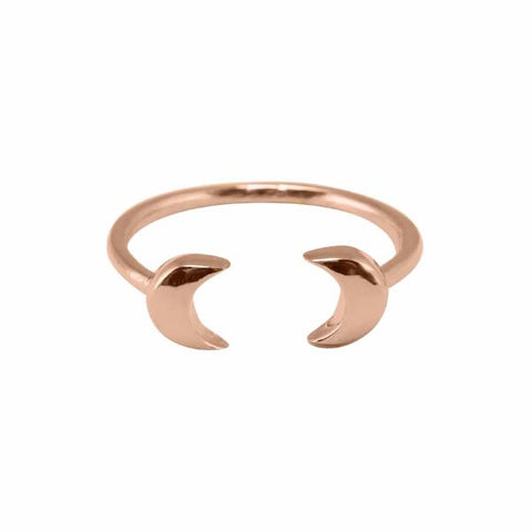 Double Moon Ring 14k rose gold plated - Correy & Lyon jewellery