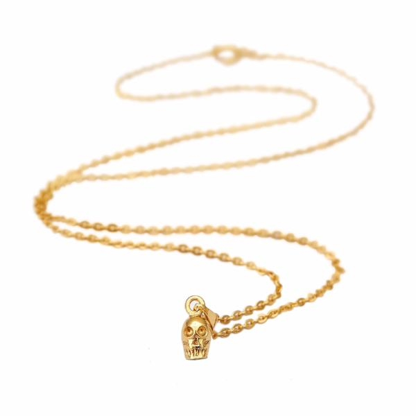 Skull necklace 14k gold plated - Correy & Lyon jewellery
