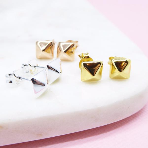 Stud Earrings (Gold) - Correy & Lyon Silver Jewellery