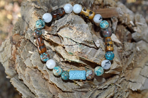 Aromatherapy Healing Bracelet - Spiritual Connection - Blue Calsilica Jasper and Moonstone