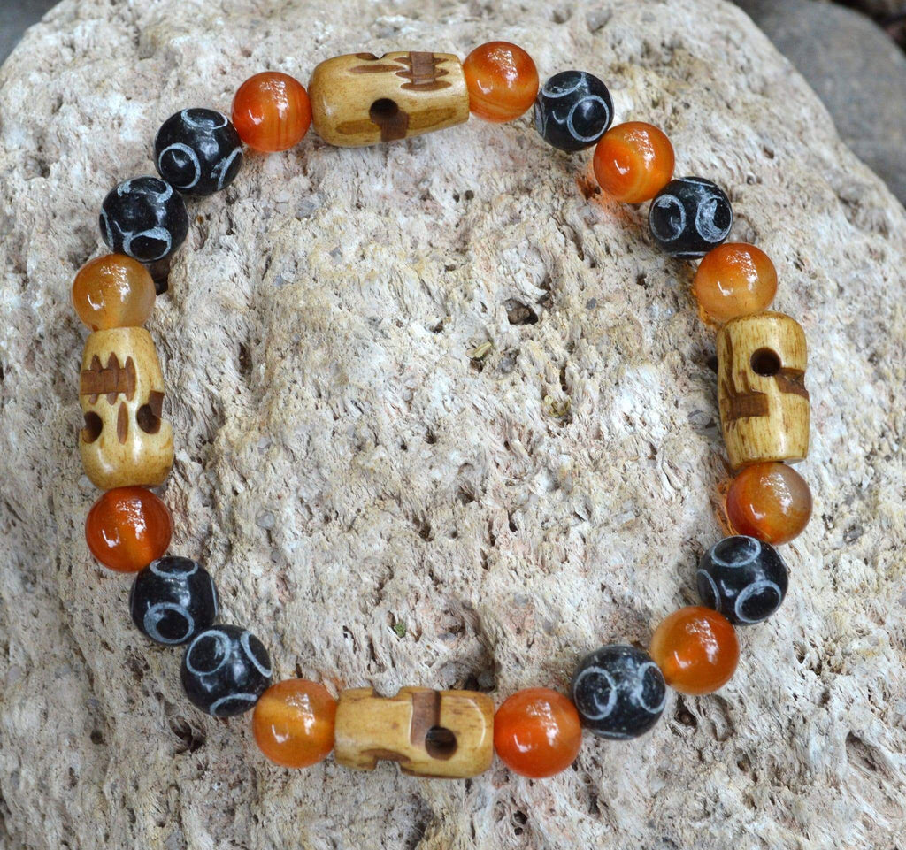Bracelets Men's Courage Bracelet - Carnelian and Hand Carved Black Henan Jade