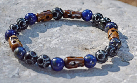 Men's Intuition Bracelet - Lapis Lazuli w/Pyrite and Hand Carved Black Henan Jade