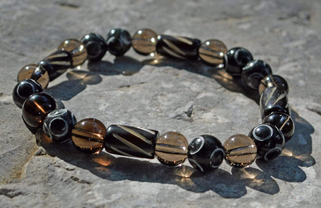 Bracelets Men's Protection Bracelet - Smoky Quartz and Hand Carved Black Henan Jade