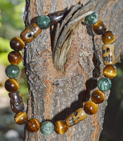 Men's Vitality Bracelet - Tiger Eye and Seraphinite with Buffalo Bone