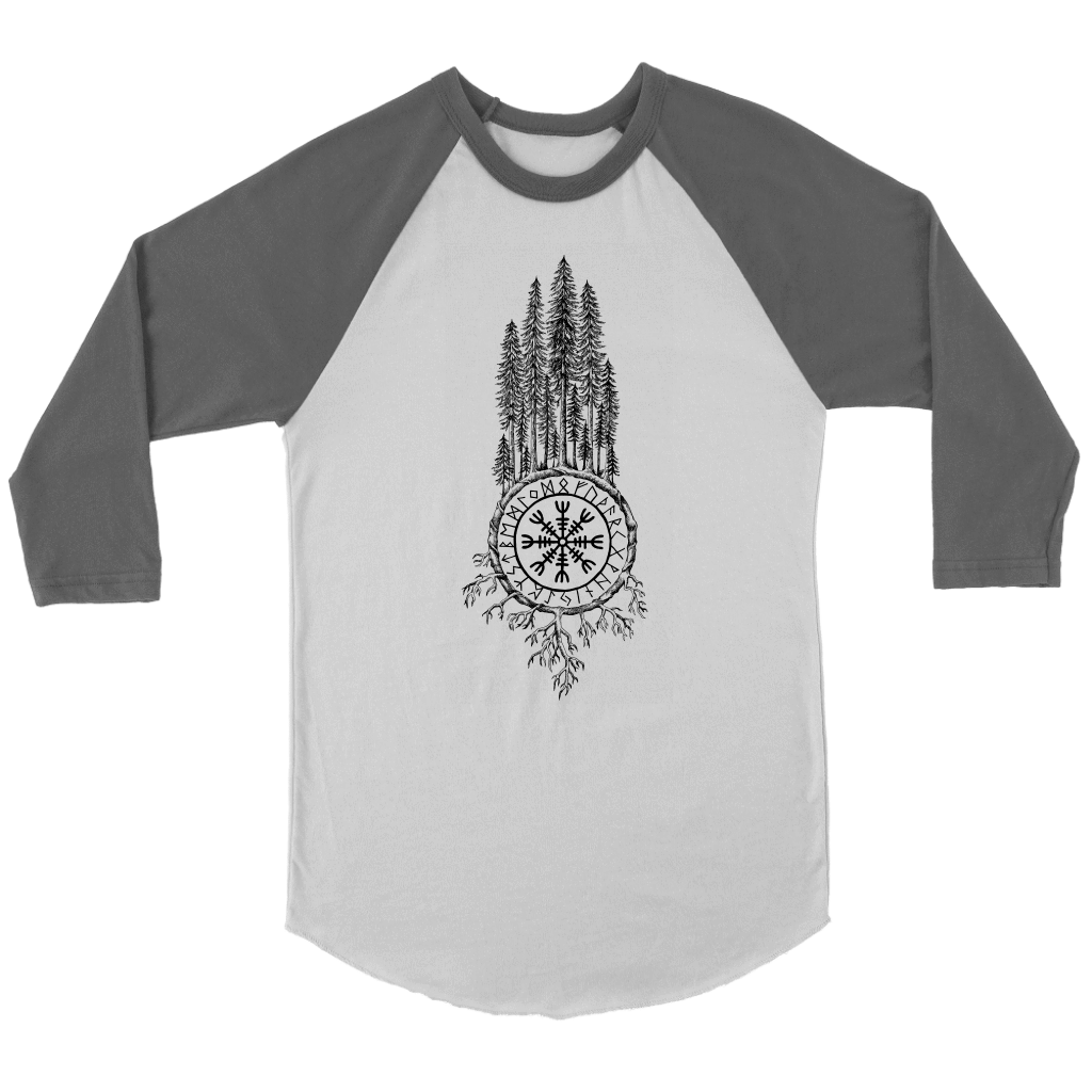 Clothing Canvas Unisex 3/4 Raglan / White/Asphalt / S Runic Redwoods (Black)