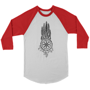 Clothing Canvas Unisex 3/4 Raglan / White/Red / S Runic Redwoods (Black)