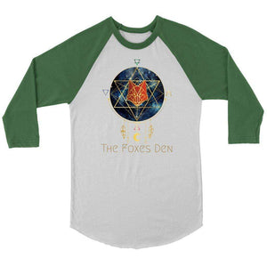 Clothing Small / White/Evergreen / S The Foxes Den - 3/4 Raglan