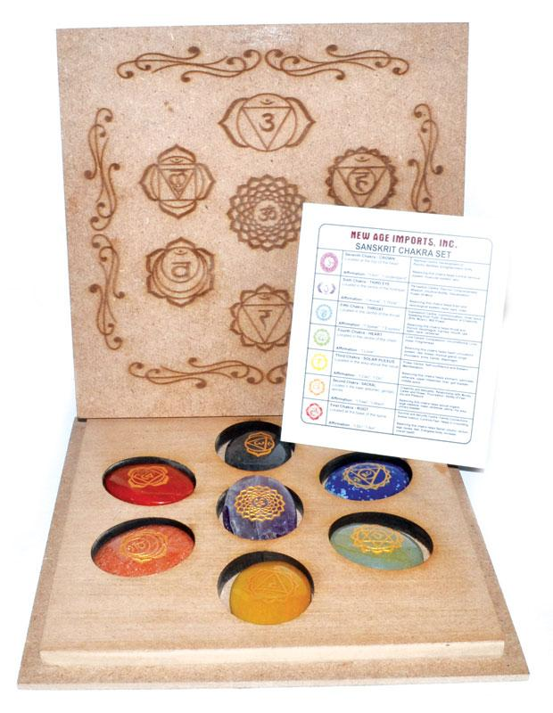 Crystal Gift Sets Sanskrit Chakra Stone Set with Box