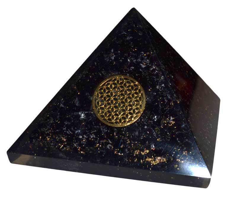 Orgone Tourmaline & Flower Pyramid | 70mm