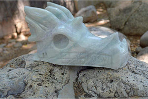 Crystal Wholesale Blue Aragonite - Crystal Dragon Skull Carving III